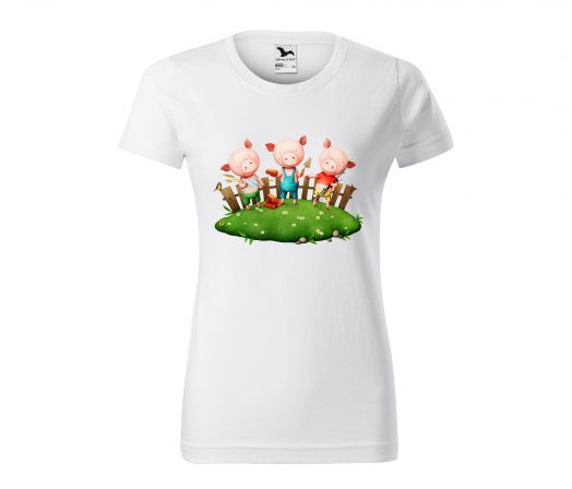 Colored women's T-shirt The Three Little Pigs