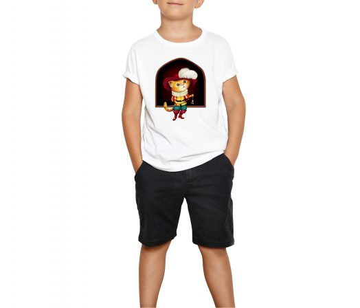 Colorful children's T-shirt Puss in Boots